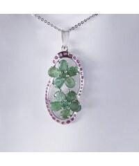 KLENOTA Stříbrný přívěsek se smaragdy a rubíny