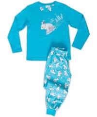 Vienetta Kids Dětské pyžamo dlouhé Méďa na saních - tyrkysová