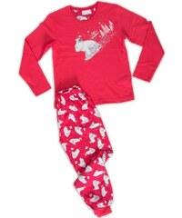 Vienetta Kids Dětské pyžamo dlouhé Méďa na saních - jahodová