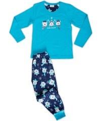 Vienetta Kids Dětské pyžamo dlouhé Méďové se šálou - tyrkysová