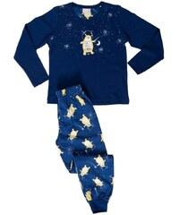 Vienetta Kids Dětské pyžamo dlouhé Méďa a měsíc - tmavě modrá