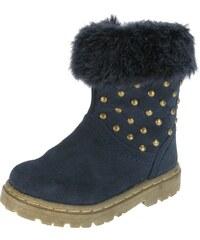 Beppi Dívčí zimní boty s kožíškem a cvočky - tmavě modré