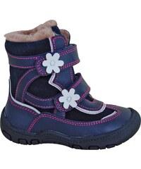 Protetika Dívčí zimní boty s kytičkami Diana - modré