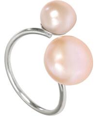 JwL Jewellery Stříbrný prsten s lososovorůžovou dvojperlou JL0061