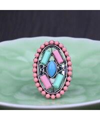 Prsten ETNO FRIZZ s korálky a krystalky