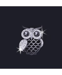 Brož ve tvaru sovičky s krystalky
