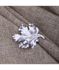 Brož ve tvaru listu s korálkem a krystalky