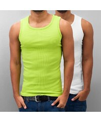 Dangerous DNGRS Double Pack Tank Top Lime Green/Bright White