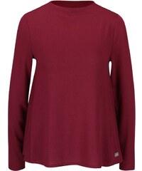 Vínové volnější tričko s dlouhým rukávem ONLY Emmelie