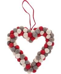 Krémovo-šedo-červené dekorační srdce z bambulí Sass & Belle