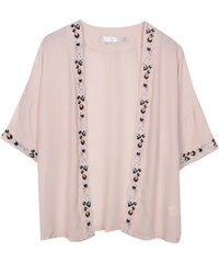 Lesara Cardigan im Kimono-Stil - Creme - S