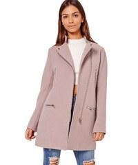 MISSGUIDED Sladký šeříkově fialový kabát kratšího střihu