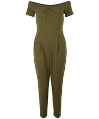 New Look Petite – Khakifarbener Jumpsuit mit Bardot-Ausschnitt