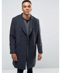 ASOS Wool Mix Double Breasted Overcoat in Grey Marl - Grau