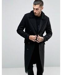 ASOS - Doppelreihiger Mantel aus Wollmischung mit Gürtel und Borg-Kragen - Schwarz