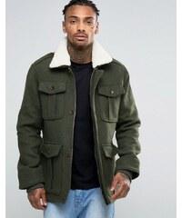 Threadbare - Veste 4 poches avec col en fausse fourrure - Vert