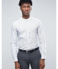 Reiss - Chemise grand-père habillée à rayures coupe clim - Blanc