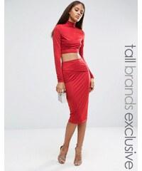 Naanaa Tall - Jupe mi-longue moulante effet drapé - Rouge