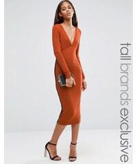 Naanaa Tall - Midikleid mit tiefem Ausschnitt vorn und Gitterdesign an den Seiten - Orange