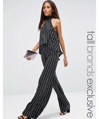 Naanaa Tall - Pantalon taille haute coupe droite à rayures pailletées - Noir