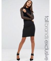 Naanaa Tall - Figurbetontes Kleid mit durchgehendem Netzstoff - Schwarz
