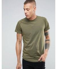 Selected Homme - T-shirt long à manches raglan et ourlet arrondi - Vert
