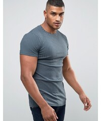 ASOS - T-shirt long et côtelé très moulant - Bleu