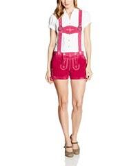 Gaudi-Leathers Damen Trachten Lederhose Shorts kurz mit Blumenstickerei und Träger in verschiedenen Farben.