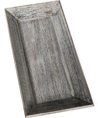 Lesara Dekotablett aus Naturholz - Grau