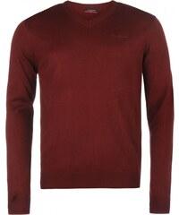 Pierre Cardin V Neck Knit Jumper Mens, burgundy