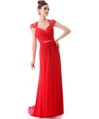 Ever Pretty Krásné červené šifonové večerní šaty s krajkou