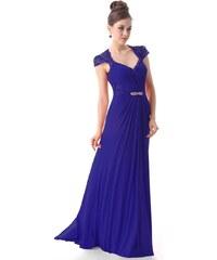 Ever Pretty Krásné modré šifónové večerní šaty s krajkou