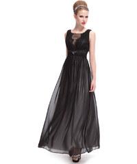 Ever Pretty Černé dlouhé šaty s rafinovaným výstřihem