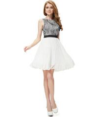 Ever Pretty Černobílé koktejlky s krajkou a plisovanou sukní