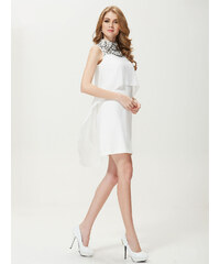 Ever Pretty Bílé minišaty se zdobeným límcem