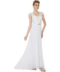 Ever Pretty Krásné bílé šifonové večerní šaty s krajkou