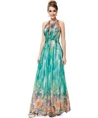 Ever Pretty Zelenomodré šaty s drobnými květy a zipem na zádech
