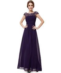Ever Pretty Fialové krajkové šaty