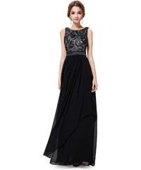Ever Pretty Nádherné černé večerní šaty ze saténu a krajky