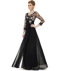 Ever Pretty Slavnostní šaty s tříčtvrtečními rukávy - černé