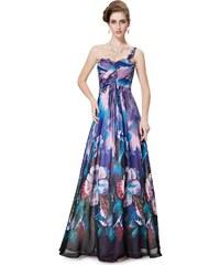Ever Pretty Modrofialové květované šaty na jedno rameno