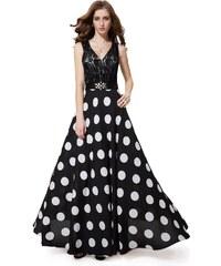 Ever Pretty Černé puntíkované šaty s krajkou