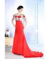 Dorisqueen Luxusní šaty s vlečkou z tylu a hedvábí