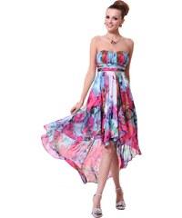 Ever Pretty Barevné asymetrické šaty s květinovým potiskem