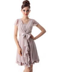Ever Pretty Světle hnědé šifonové šaty