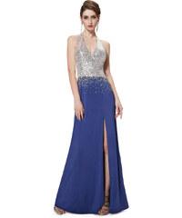 Ever Pretty Modrostříbrné šaty s holými zády a rozparkem