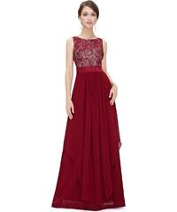Ever Pretty Nádherné červené večerní šaty ze saténu a krajky