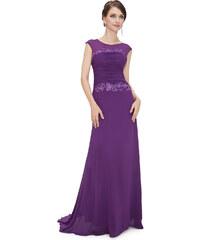 Ever Pretty Fialové šaty zdobené krajkou