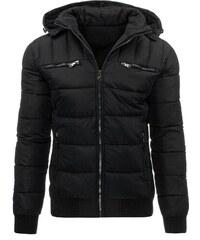 Černá prošívaná trendy bunda s kožíškem uvnitř