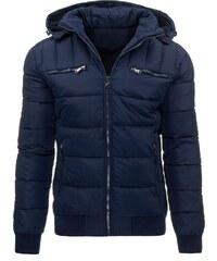 Modrá prošívaná trendy bunda s kožíškem uvnitř